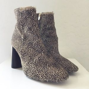Topshop calf hair high heel ankle boots size 38
